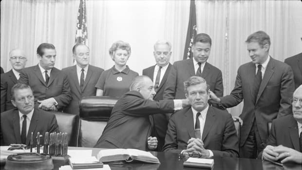 President Lyndon B. Johnson with some members of the National Advisory Commission on Civil Disorders, also known as the Kerner Commission, in the Cabinet Room of the White House on July 29th, 1967.