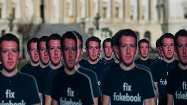 One hundred life-sized cutouts of Facebook executive Mark Zuckerberg sit on the lawn of the United States Capitol on April 10th, 2018, in Washington, D.C.