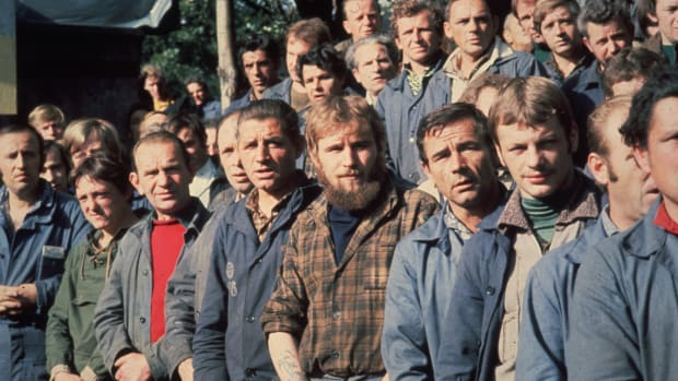 August of 1980: Members of the Trade Union, Solidarity, who are on strike at the Lenin Shipyard in Gdansk, Poland.