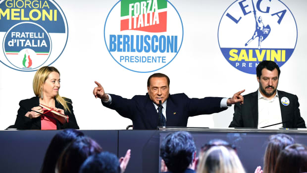 Leader of far-right party Brothers of Italy Giorgia Meloni, head of the center-right Forza Italia (Go Italy) Silvio Berlusconi, and leader of far-right party The League Matteo Salvini, give a joint press conference at the Tempio di Adriano in Rome.