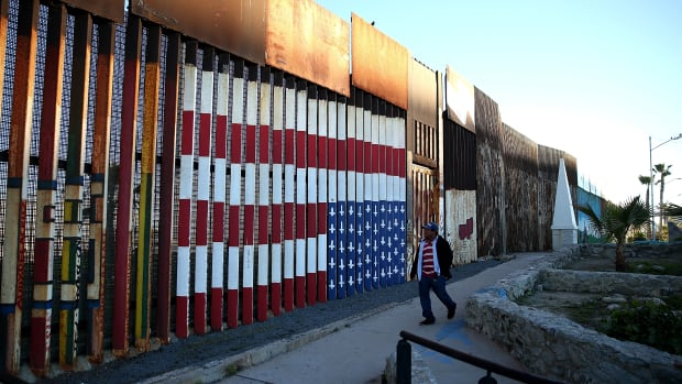 A view of the U.S.-Mexican border fence at Playas de Tijuana in Tijuana, Mexico.