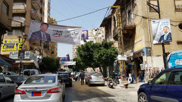 Electoral posters are plastered and strung around Beirut, Lebanon, ahead of parliamentary elections on May 6th.