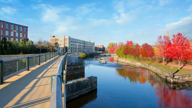 The Canal Walkway in Lowell, Massachusetts.