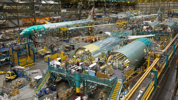 Inside the Boeing factory in Everett, Washington.