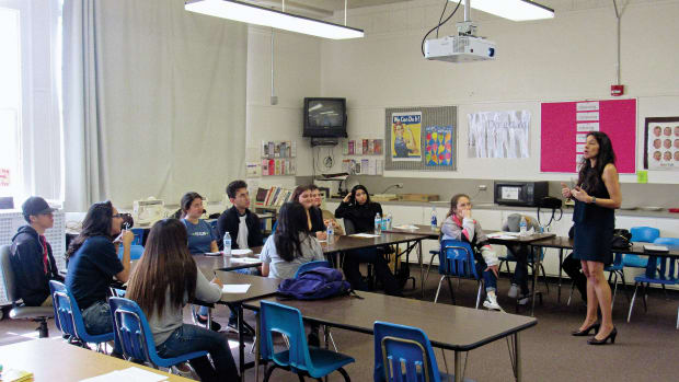 Annie Delgado's classroom in Golden Valley High School, in Central California.
