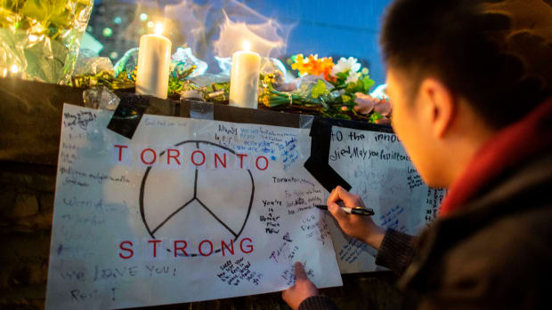 A vigil in Toronto, Canada after a deadly street van attack by suspect 25-year-old Alek Minassian