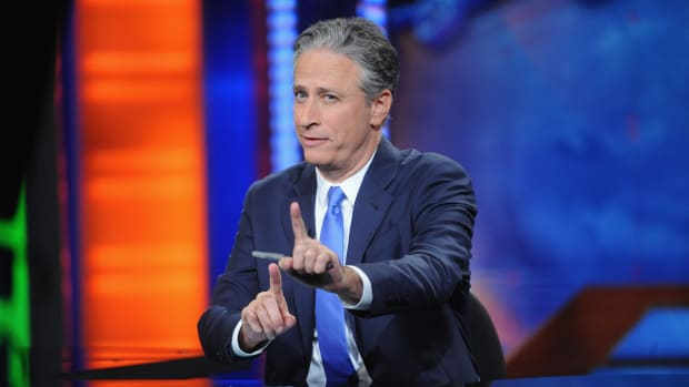 Jon Stewart hosts 'The Daily Show with Jon Stewart' on August 6th, 2015 in New York City.
