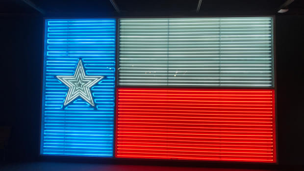 A neon Texas state flag on display at the Institute of Texan Culture in San Antonio, Texas.