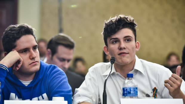 Charlie Mirsky (left), and Alfonso Calderon, students from Marjory Stoneman Douglas High School in Parkland, Florida, take part in a Gun Violence Prevention Forum at the House Visitor Center at the U.S. Capitol in Washington, D.C., on May 23rd, 2018.