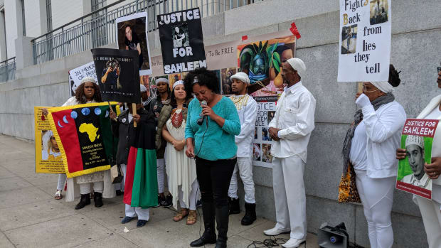 Cat Brooks speaks at a recent event in Oakland for Sahleem Tindle, who was killed by a BART officer in early January.
