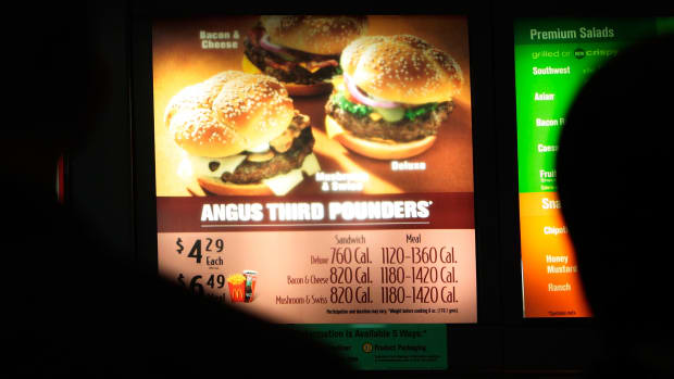 Calories are listed next to menu items in a McDonald's on July 18th, 2008, in New York City.