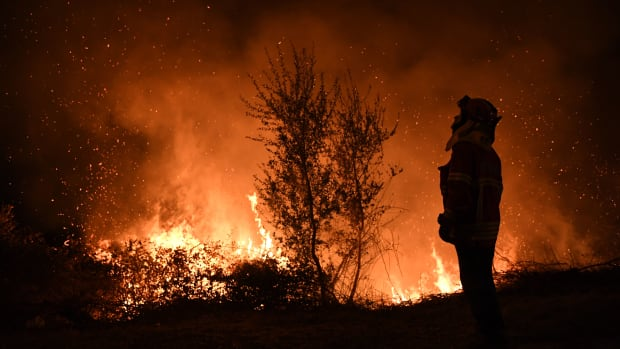 A firefighter observes the flames while trying to extinguish a fire in Cabanoes, Portugal, on October 16th, 2017.