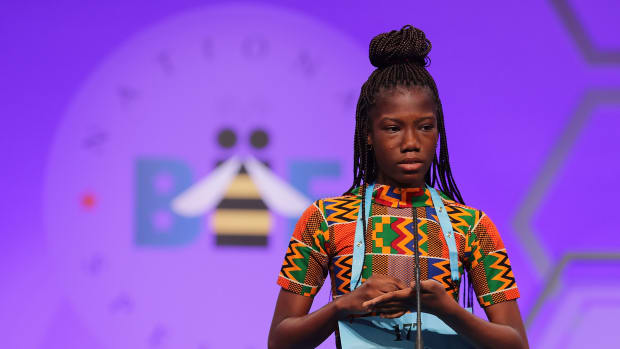 Shifa Amankwah-Gabbey, 12, of Accra, Ghana, participates in the 91st Scripps National Spelling Bee at the Gaylord National Resort and Convention Center on May 30th, 2018, in National Harbor, Maryland. More than 500 spellers from across the country and around the world competed in the bee.