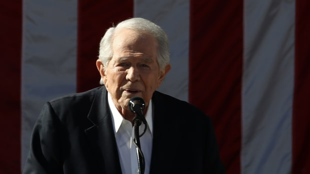 Televangelist Pat Robertson delivers remarks at a campaign event for Republican presidential candidate Donald Trump at Regent University.