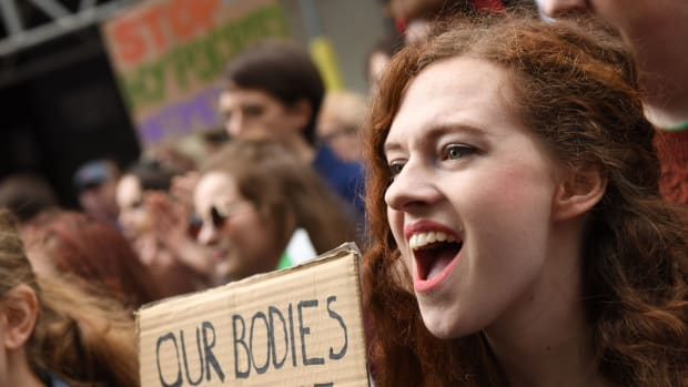 Protesters hold up placards during the London March for Choice, calling for the legalising of abortion in Ireland after the referendum announcement, outside the Embassy of Ireland in central London on September 30, 2017. Tens of thousands are expected at a rally for abortion rights in Dublin on September 30, campaigning on one side of a fierce debate after Ireland announced it will hold a referendum on the issue next year.