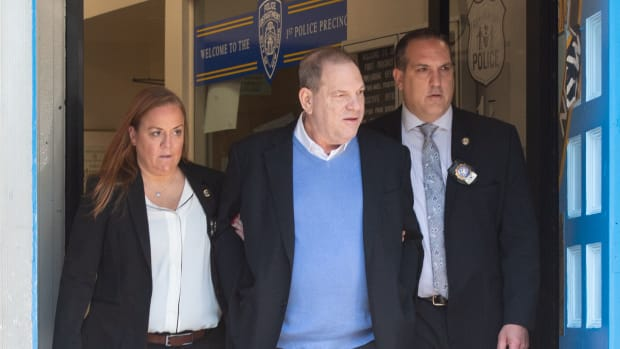 Harvey Weinstein leaves the New York City Police Department's First Precinct on May 25th, 2018, in New York.