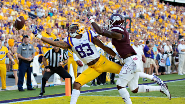LSU wide receiver Travin Dural can't haul in a pass against the Mississippi State Bulldogs on September 20th, 2014, in Baton Rouge, Louisiana.