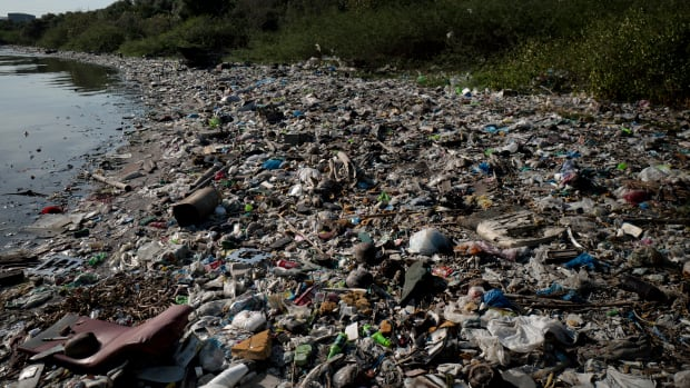 Plastic wastes fill a beach on April 18th, 2018, in Manila, Philippines.