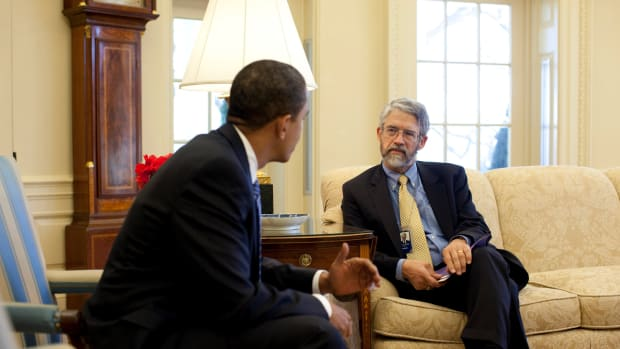 President Obama meets with John Holdren, Office of Science and Technology Policy, in the Oval Office on March 9th, 2009.