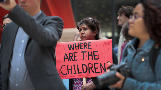 Demonstrators protest Trump administration policy that enables federal agents to separate undocumented migrant children from their parents at the border on June 5th, 2018 in Chicago, Illinois.