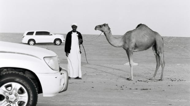 A Sudanese camel trader in the Rub' al-Khali desert in the United Arab Emirates, where the animals sell for thousands of dollars and camel beauty pageants are a regular occurrence.