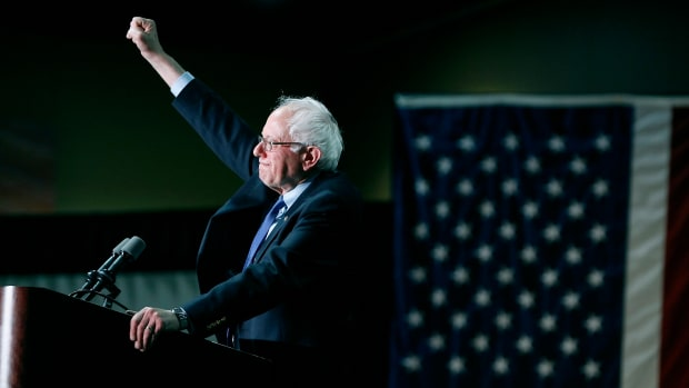 Democratic presidential candidate Senator Bernie Sanders (D-Vermont) speaks to a crowd gathered at the Phoenix Convention Center during a campaign rally on March 15th, 2016, in Phoenix, Arizona.