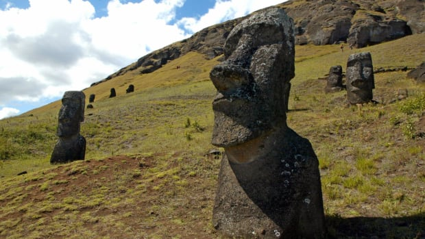 Some of the 390 abandoned huge statues in the hillside of the Rano Raraku volcano on Easter Island.