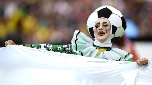 A dancer looks on during the opening ceremony prior to the 2018 FIFA World Cup Russia Group A match between Russia and Saudi Arabia at Luzhniki Stadium on June 14th, 2018, in Moscow, Russia.