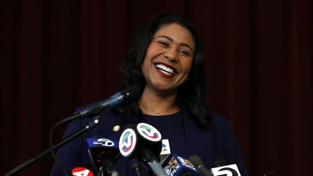 San Francisco Mayor-elect London Breed speaks during a news conference at Rosa Parks Elementary School on June 14th, 2018, in San Francisco, California.