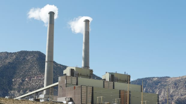 smoke stacks at Pacificorp's 1000-megawatt coal fired power plant on October 9, 2017 outside Huntington, Utah.