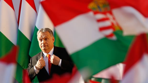 Hungarian Prime Minister Viktor Orban attends his Fidesz Party's campaign rally on April 6th, 2018, in Szekesfehervar, Hungary.