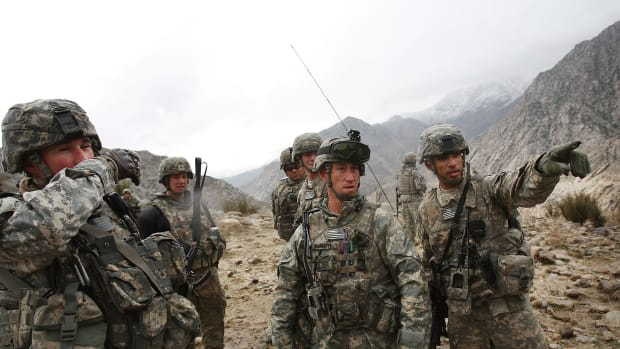 Members of the U.S. Army conduct a joint military exercise with the Afghan National Army on February 23rd, 2009, in the Nuristan Province, Afghanistan.