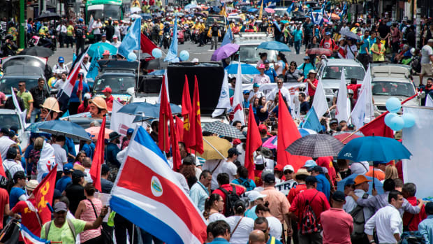Thousands of public-sector employees march during a strike called by labor unions to protest against austerity measures in San José, Costa Rica, on June 25th, 2018.