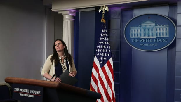 White House Press Secretary Sarah Sanders in the James Brady Press Briefing Room at the White House on May 10th, 2017, in Washington, D.C.