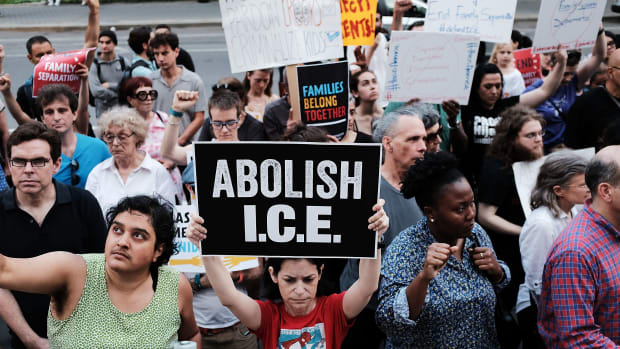 Immigrant rights advocates participate in rally against the ICE on June 1st, 2018, in New York City.