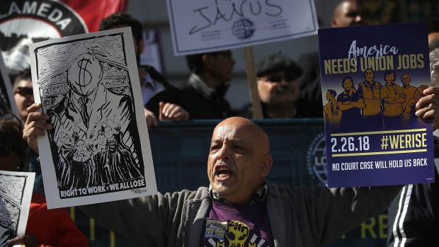 Hundreds of union members held a rally outside of San Francisco City Hall in February of 2018 as the Supreme Court began to hear oral arguments in the Janus case.