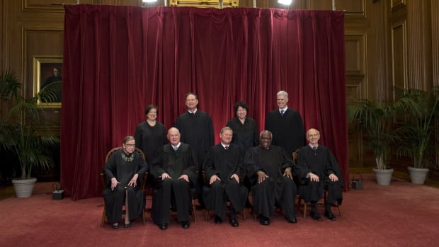 Justices of the U.S. Supreme Court sit for their official group photo in Washington, D.C, on June 1st, 2017.
