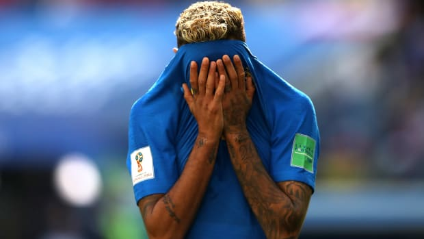 Neymar Jr. of Brazil reacts during the 2018 FIFA World Cup Russia group E match between Brazil and Costa Rica.