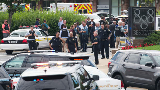 Police respond to a shooting at the building that houses the Capital Gazette in Annapolis, Maryland, on June 28th, 2018.