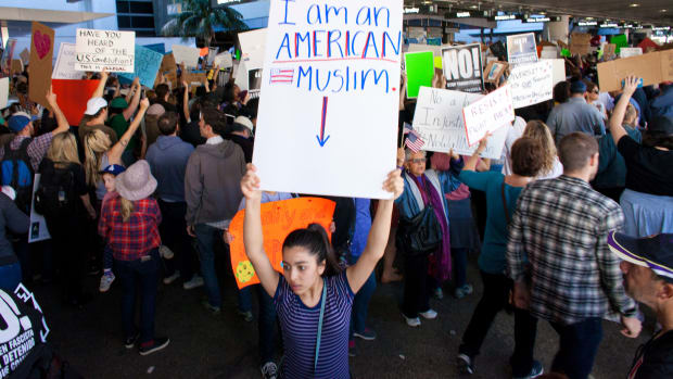 Protesters gather at the Los Angeles International Airport to protest President Donald Trump's travel ban.