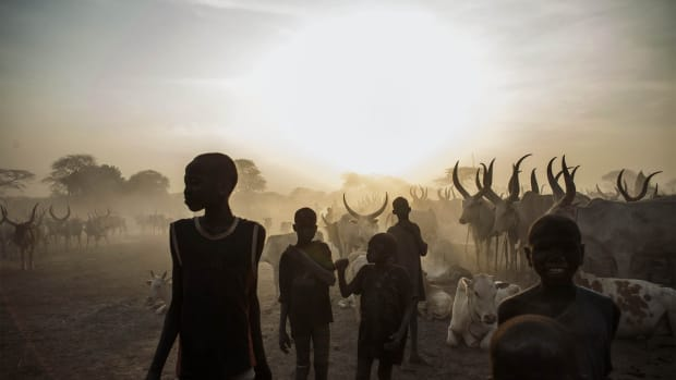 South Sudanese children from the Dinka ethnic group at a cattle camp in the town of Yirol, in central South Sudan.