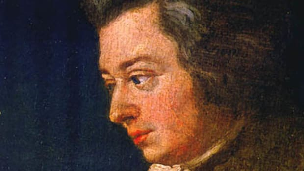 Detail of a portrait of Mozart by his brother-in-law Joseph Lange.