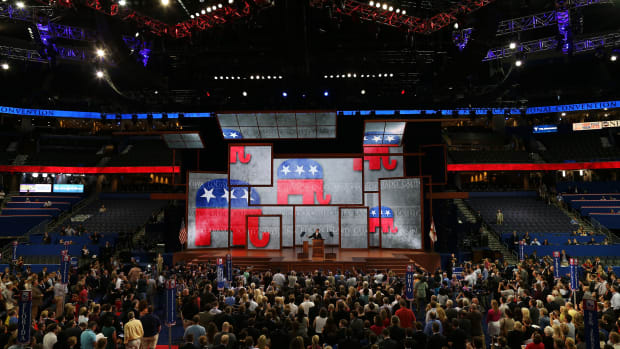Reince Priebus speaks at the Republican National Convention on August 27th, 2012, in Tampa, Florida.