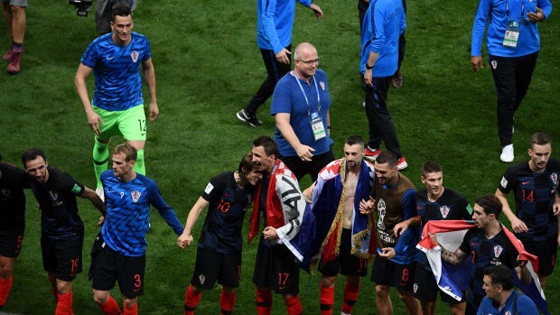 Croatia's players celebrate after winning the Russia 2018 World Cup semi-final football match between Croatia and England at the Luzhniki Stadium in Moscow on July 11th, 2018.
