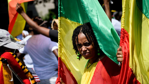 Supporters of Ethiopian Prime Minister Abiy Ahmed rally on June 26th, 2018, in Washington, D.C.
