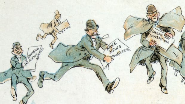 "Reporters with various forms of ""fake news,"" from an 1894 illustration by Frederick Burr Opper."