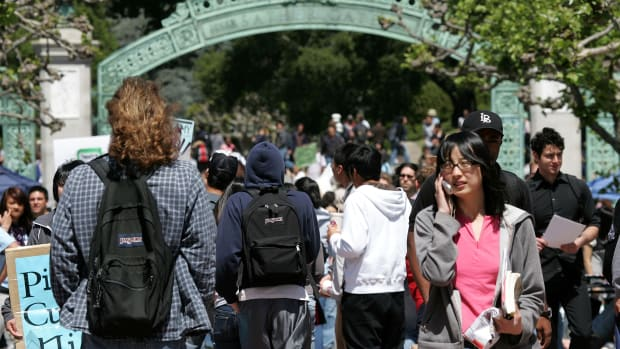 Students walk through campus at the University of California–Berkeley.