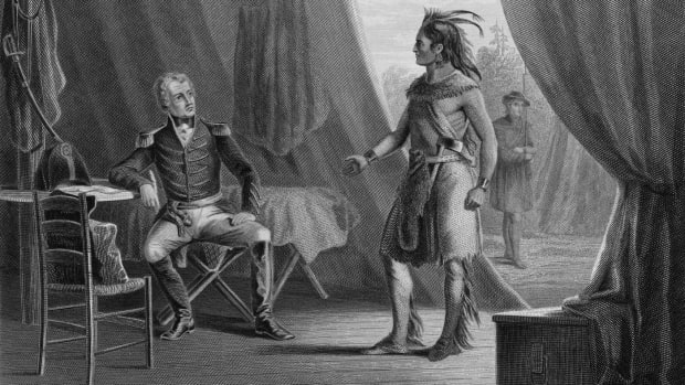 Chief William Weatherford surrenders to Andrew Jackson following the Battle of Horseshoe Bend.