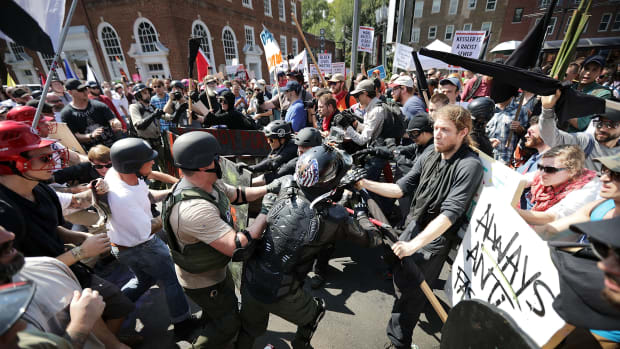 White nationalists clash with counter-protesters on August 12th, 2017, in Charlottesville, Virginia.