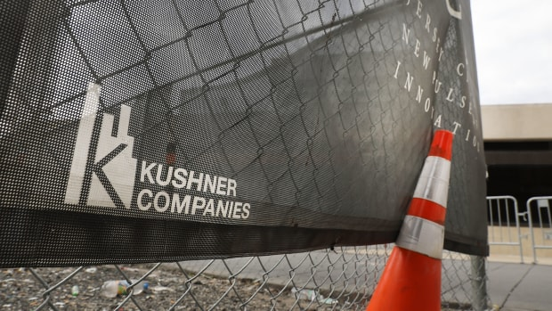 The Kushner family name is displayed on advertising at the One Journal Square project in Jersey City on May 9th, 2017, in Jersey City, New Jersey.